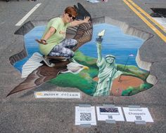 3D chalk art at Chalktoberfest 2015 in Marietta, GA. Theme was patriotism. Art is 10' x 20' and took about 13 hours to complete.