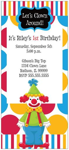 Clown Party Invitations PRINTABLE Birthday Party by sharenmoments - circus party invitation