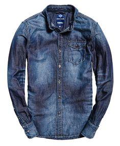 Superdry Camisa vaquera con botones IE Ghost Azul