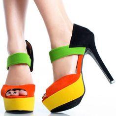 Orange-Suede Color Block Peep Toe Women Stiletto High Heel Dress Shoes