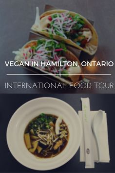An international restaurant food tour of Hamilton. Hamilton Ontario vegan dishes from around the world. Try this vegetarian and vegan cuisine in Vegan Restaurants, Restaurant Recipes, Drinking Around The World, Hamilton Ontario, Food Inspiration, Travel Inspiration, Vegan Dishes, International Recipes, Foodie Travel