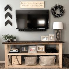 60 Beautiful Farmhouse TV Stand Design Ideas And Decor. If you are looking for 60 Beautiful Farmhouse TV Stand Design Ideas And Decor, You come to the right place. New Living Room, My New Room, Living Room Decor, Small Living, Modern Living, Tv On Wall Ideas Living Room, Living Spaces, Farmhouse Tv Stand, Farmhouse Style