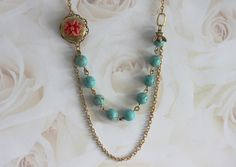 Bee Necklace Vintage Style, Bee Flower Necklace, Flower Locket necklace,  Turquoise Necklace, Coral Flower Necklace, Vintage Jewelry by madebymoe on Etsy https://www.etsy.com/listing/52441603/bee-necklace-vintage-style-bee-flower