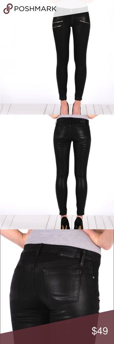 Henry & Belle wax coated skinny black jeans So pretty and Perfectly on trend! Never worn. Size 26P. henry & belle Jeans Skinny