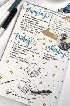 Love keeping the same theme throughout your entire bujo for the month? Check out the best bullet journal space spreads to make your pages look stellar! Bullet Journal Cover Page, Bullet Journal Books, Bullet Journal Layout, Bullet Journal Ideas Pages, Bullet Journal Inspiration, Journal Pages, Journal Covers, Scrapbook Organization, Bullet Journal Aesthetic