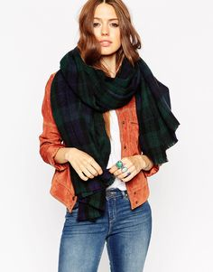 ASOS Oversized Scarf In Green Tartan Check
