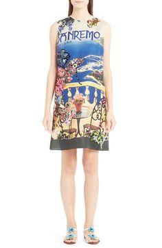 Dolce&Gabbana Dolce&Gabbana Floral & Crystal Embellished Silk Shift Dress available at #Nordstrom