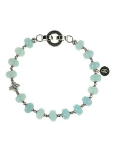 """Sparkling and irresistible - bracelet """"Mint Glow"""" made of stainless steel featuring 16 cabochon Amazonite stones and one cast steel bead with a motif."""