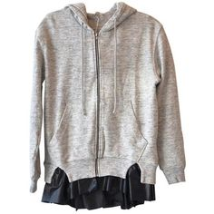 Clu Hoodie With Ruffles in Gray ($275) ❤ liked on Polyvore