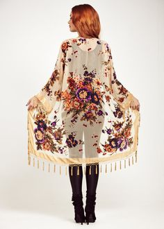 Velvet Fringe Kimono Jacket  Champagne Gypsy Woman by shevamps, £99.00