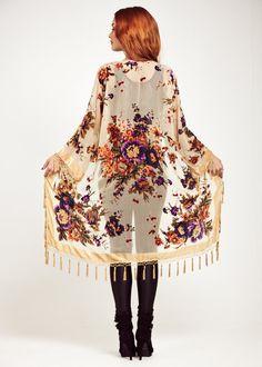 Velvet Fringe Kimono Jacket Champagne Gypsy Woman by shevamps, £99.00