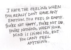 Can't feel anything