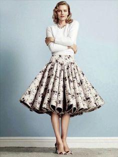 20 Looks with Pretty Midi Skirts Glamsugar.com Rochas skirt