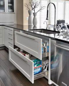 5 Dream Kitchen Must Haves - Iowa Girl Eats Kitchen Sink Organization, Kitchen Storage, Organization Ideas, Storage Ideas, Organized Kitchen, Storage Solutions, Kitchen Drawers, Shelf Ideas, Shelving Ideas