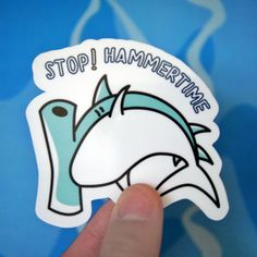 Funny Hammer Head Shark Sticker ($2.99) ❤ liked on Polyvore featuring home, home decor, office accessories and whimsical