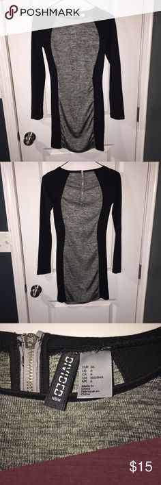 Bodycon h and m dress Long sleeve black and grey fitted bodycon dress H&M Dresses Long Sleeve