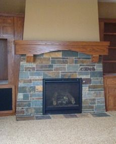 Slate Tile Fireplace Bat Craftsman Stove