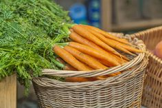 carrots in basket. Eat fresh. shop local. local produce at Cheddar Woods' Farm Shop, Somerset