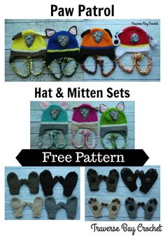 Crochet Paw Patrol Hat & Mitten Sets Create this cute hat and mitten set in your little one's favorite pup! Free patterns in toddler [. Crochet Hats For Boys, Crochet Baby Hats, Crochet Beanie, Crochet Gifts, Crocheted Hats, Free Crochet, Crochet Things, Simple Crochet, Kids Crochet