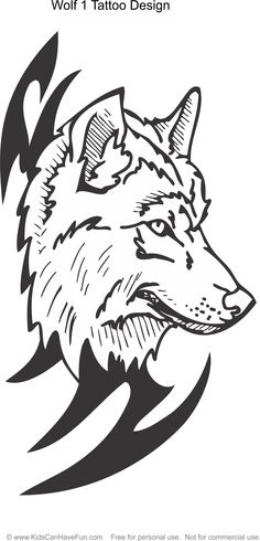 Wolf 1 Tattoo Design Coloring Page Kidscanhavefun