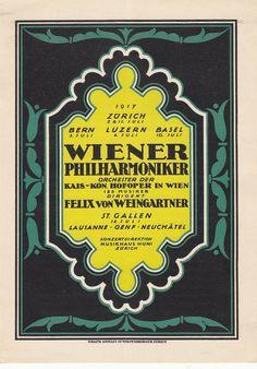 FELIX WEINGARTNER Vienna Philharmonic Orchestra Bern 1917 Brahms Berlioz in Entertainment Memorabilia, Music Memorabilia, Classical, Opera & Ballet, Programs | eBay