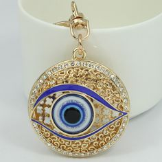Punk Hollow Evil Eye Keychains Keyring Fashion Rhinestone Animal Metal Key Chain Ring For Women Gift Charms Pendant Jewelry
