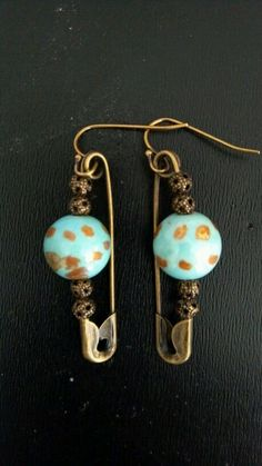 VanSmart Designs-- Ceramic Beads with Brass Bead Accents on Brass Safety Pins