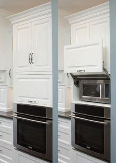 Love the idea of hiding hideous microwaves!! this is great