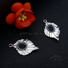 1 pcs 925 Sterling Silver Leaf Pendant Gallery Bezel by AoryNL