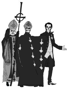 I wonder which skin he is/was most comfortable in? Band Ghost, Ghost Bc, Ghost Papa Emeritus Iii, Doom Metal Bands, Rock Bands, Tarot, Ghost And Ghouls, Satanic Art, Ghost Pictures