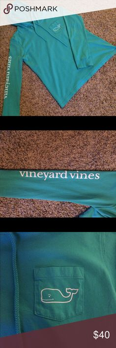 Vineyard Vines Hoodie Like new. Only worn one time. Beautiful turquoise with white accents. Light weight. Perfect for cool summer nights. Vineyard Vines Tops Sweatshirts & Hoodies
