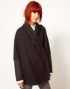 ++ chalayan gray line scarf neck coat