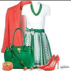 Blanco, verde y naranja