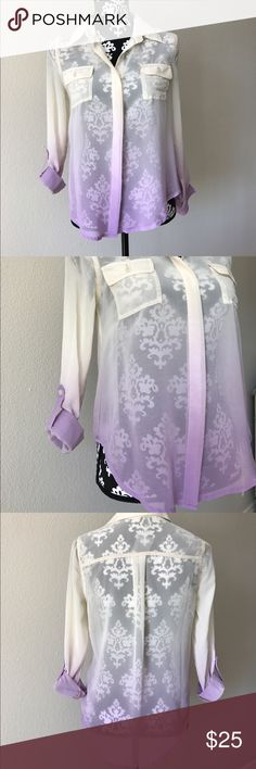 NWT chiffon beige/purple ombré Button Down. Size s BNWT chiffon beige/purple ombré Button Down Shirt. Pristine. Size small. No stains no smoke no rips no tears no pets. Follow me on instagram @stylemebyj9 mine Tops Button Down Shirts