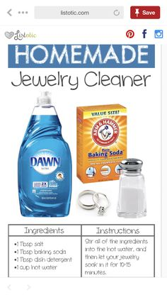 Everyday Products You Can Easily Make From Home (for less!) Homemade Jewelry Cleaner -- 22 Everyday Products You Can Easily Make From Home (for less!)Homemade Jewelry Cleaner -- 22 Everyday Products You Can Easily Make From Home (for less! Cleaning Recipes, House Cleaning Tips, Spring Cleaning, Cleaning Hacks, Cleaning Supplies, Diy Cleaning Rings, Cleaning Spray, Bathroom Cleaning, Hacks Diy