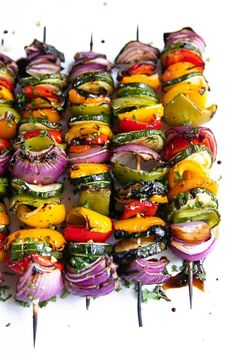 Easy Grilled Veggie Skewers - The Forked SpoonYou can find Veggie food and more on our website.Easy Grilled Veggie Skewers - The Forked Spoon Grilling Recipes, Veggie Recipes, Slow Cooker Recipes, Cooking Recipes, Healthy Recipes, Cooking Time, Veggie Food, Grilled Vegan Recipes, Vegan Recipes Summer