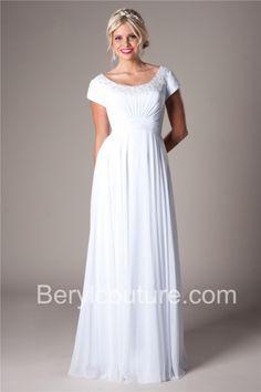 Modest Sheath Scoop Neck And Back Chiffon Beaded Destination Wedding Dress Short Sleeves