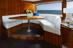 Hatteras GT Looking aft it is clear how much light the large windows bring into the salon. Hatteras Yachts, Sport Fishing, Large Windows, New Model, Palm Beach, Convertible, Table, Furniture, Miami Heat