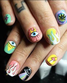 Edgy Nails, Grunge Nails, Funky Nails, Swag Nails, Cute Acrylic Nails, Cute Nails, Hello Nails, Mens Nails, Multicolored Nails