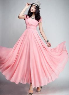2012 women V neck chiffon one piece dress elegant full dress maxi long dress expansion skirt drop shipping-inDresses from Apparel & Accesso. Coral Maxi Dresses, Chiffon Maxi Dress, Flowy Skirt, Prom Dress, Sheer Chiffon, Chiffon Fabric, Pink Maxi, Red Maxi, Long Dresses