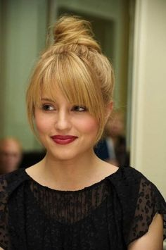 A Match Made in Heaven: Bangs + Topknot. Love this look on Dianna Agron.