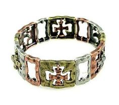 "Copper, Brass, and Silver Tone Distressed Metal Cross Cut-Out Stretch Bracelet Silver Insanity. $12.99. Made of Tri-Colored Base Metals. Stretches for Easy On and Off. Fits Up to a 7.5"" Wrist. Dangling Cross Charms. Copper, Brass, and Silver Tone Metal"