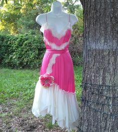 Upcycled Slip Dress Altered Refashioned Repurposed Vintage Shabby Tattered Boho Romantic Pink dress