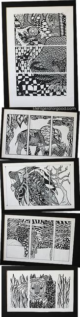 Zentangle Triptychs - High school art project, grade 10 #drawing