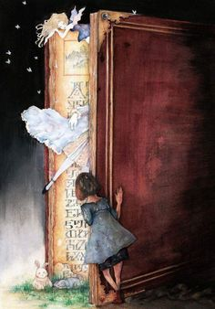 """If you want your children to be intelligent, read them fairy tales - Albert Einstein. """"Into the Book World"""" - illustration by """"moffs"""" I Love Books, Good Books, Books To Read, My Books, Reading Books, Reading To Children Quotes, Children Stories, Kids Poems, Reading Time"""