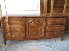 Before: Brown French Provincial Triple Dresser