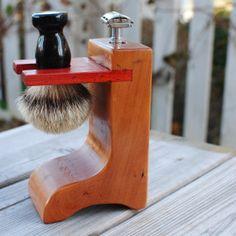 Soporte para DE maquinilla de afeitar y cepillo sólida madera de cerezo con acento Padauk de afeitar
