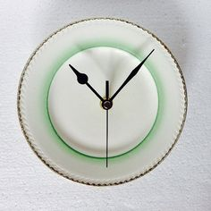 Kitchen Plate Clock  Art Deco Green and Gold   by LaviniasTeaParty