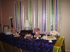 purple dessert bar wedding