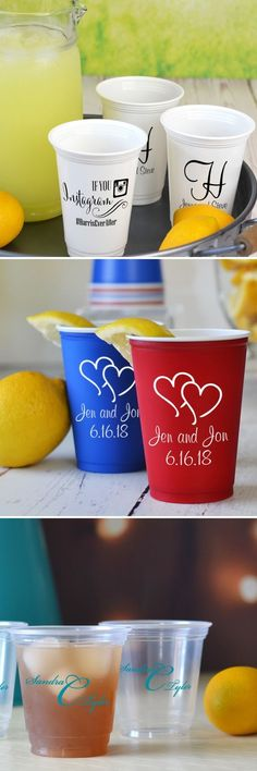 Plastic, soft-sided Solo cups personalized with a design and custom print are an affordable wedding drink station decoration guests will love. Disposable yet classy, Solo cups come in a variety of sizes and colors to complete your drink station setup. Use large cups for lemonade, iced tea, punch and other thirst-quenching beverages. Use smaller cups for juice, mixed drinks and wine. These Solo cups can be ordered at…